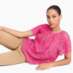J. Crew Lace Blouse Top Pink Scalloped Hem Medium
